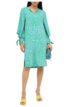 Женское шелковое платье ST. JOHN зеленого цвета, арт. K110W91 | Фото 2
