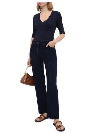 Женский пуловер из шерсти и шелка ST. JOHN темно-синего цвета, арт. K1500F2   Фото 2