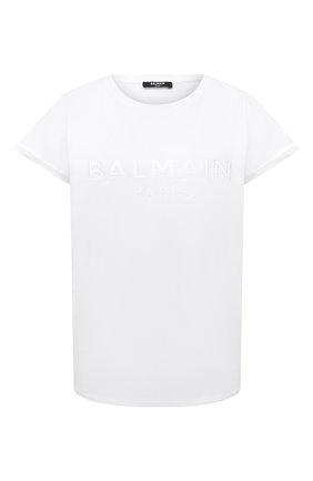 Женская хлопковая футболка BALMAIN белого цвета, арт. UF01351/I590   Фото 1