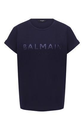 Женская хлопковая футболка BALMAIN темно-синего цвета, арт. UF01351/I590 | Фото 1