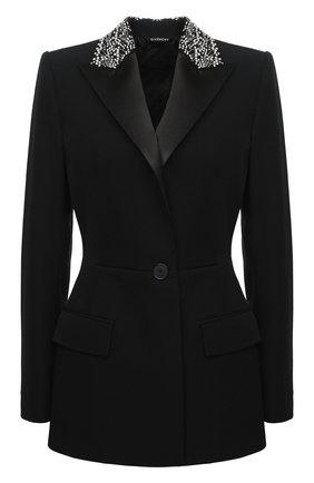 Женский шерстяной жакет GIVENCHY черного цвета, арт. BW30B9G0L3 | Фото 1