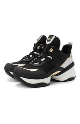 Женские комбинированные кроссовки olympia MICHAEL MICHAEL KORS черного цвета, арт. 43T00LFS7D   Фото 1