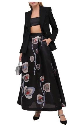 Женская шелковая юбка GIORGIO ARMANI черного цвета, арт. 0WHNN041/T01V7 | Фото 2