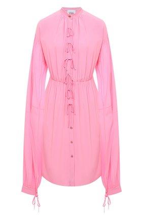 Женское шелковое платье BURBERRY розового цвета, арт. 8032099   Фото 1 (Материал внешний: Шелк; Рукава: Длинные; Женское Кросс-КТ: Платье-одежда, платье-рубашка; Случай: Коктейльный; Стили: Романтичный; Длина Ж (юбки, платья, шорты): До колена)
