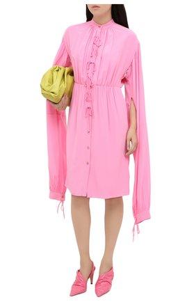 Женское шелковое платье BURBERRY розового цвета, арт. 8032099   Фото 2 (Материал внешний: Шелк; Рукава: Длинные; Женское Кросс-КТ: Платье-одежда, платье-рубашка; Случай: Коктейльный; Стили: Романтичный; Длина Ж (юбки, платья, шорты): До колена)