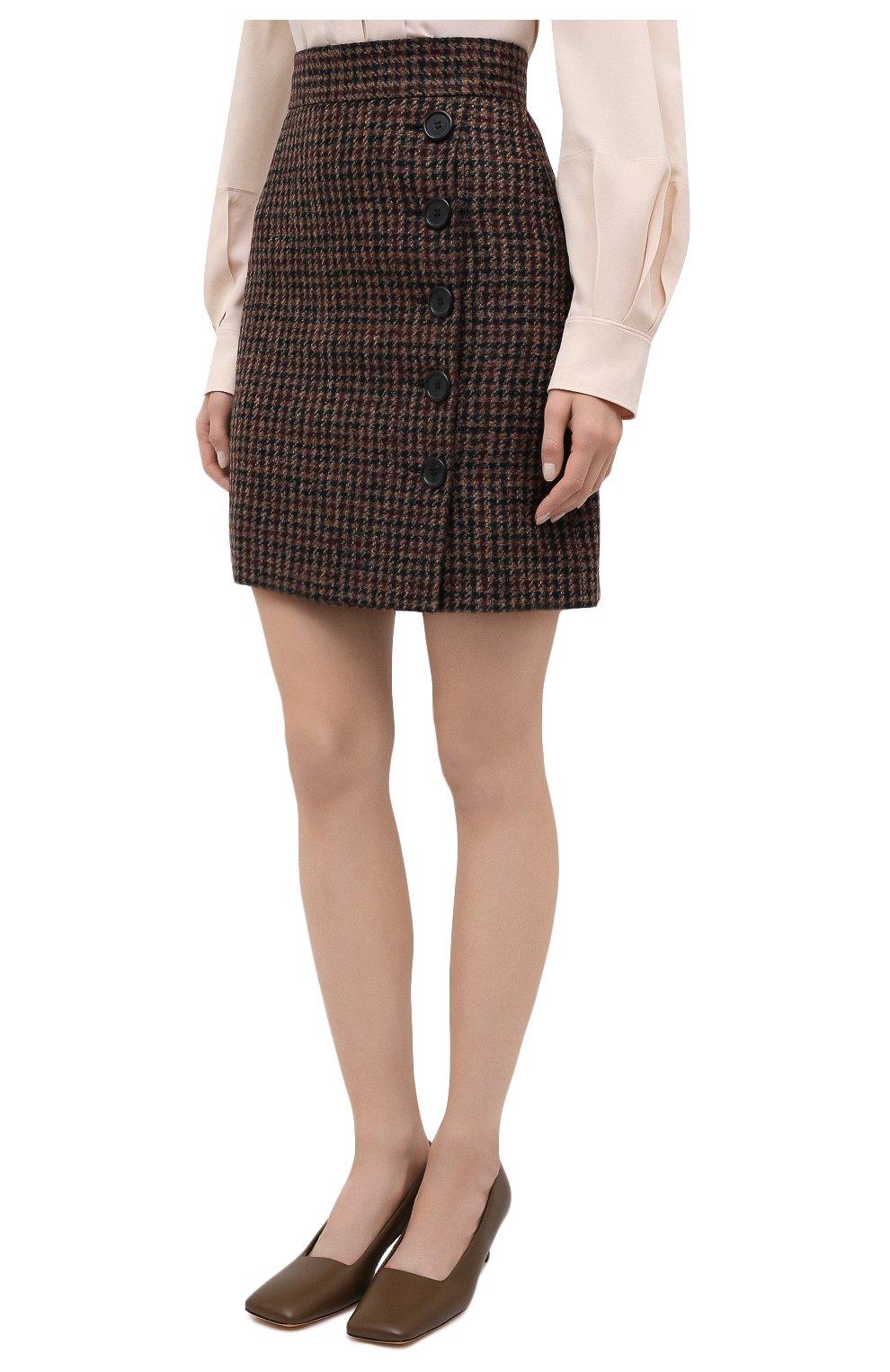 Женская юбка DOLCE & GABBANA коричневого цвета, арт. F4BYMT/FQMH3 | Фото 4