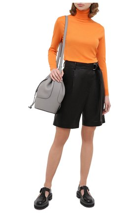 Женские кожаные шорты HELMUT LANG черного цвета, арт. K04HW204 | Фото 2