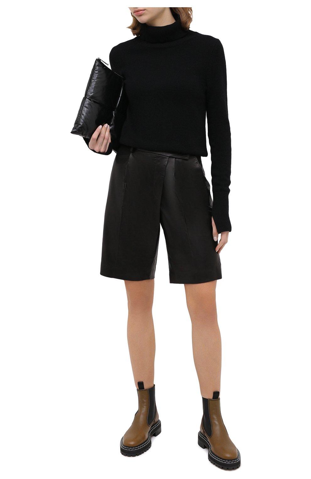 Женские кожаные шорты HELMUT LANG черного цвета, арт. K04HW204 | Фото 3