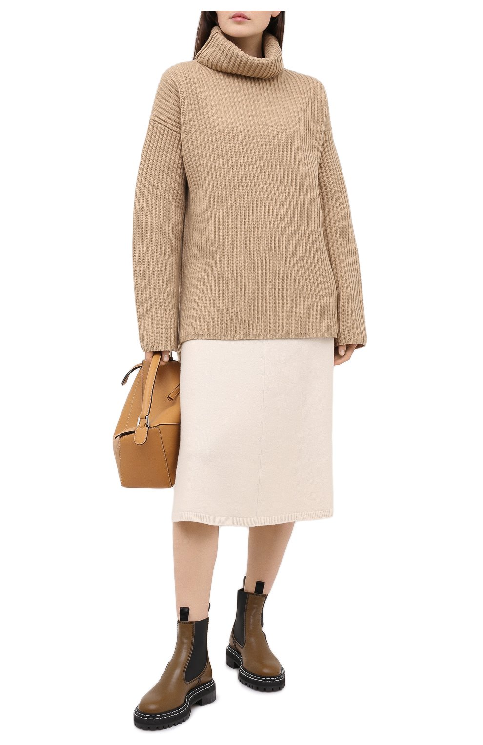 Женский шерстяной свитер JOSEPH бежевого цвета, арт. JF004801 | Фото 2
