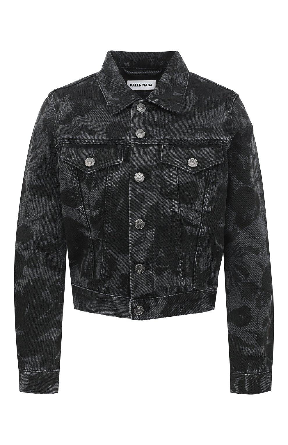 Женская джинсовая куртка BALENCIAGA черного цвета, арт. 625992/TEW35 | Фото 1