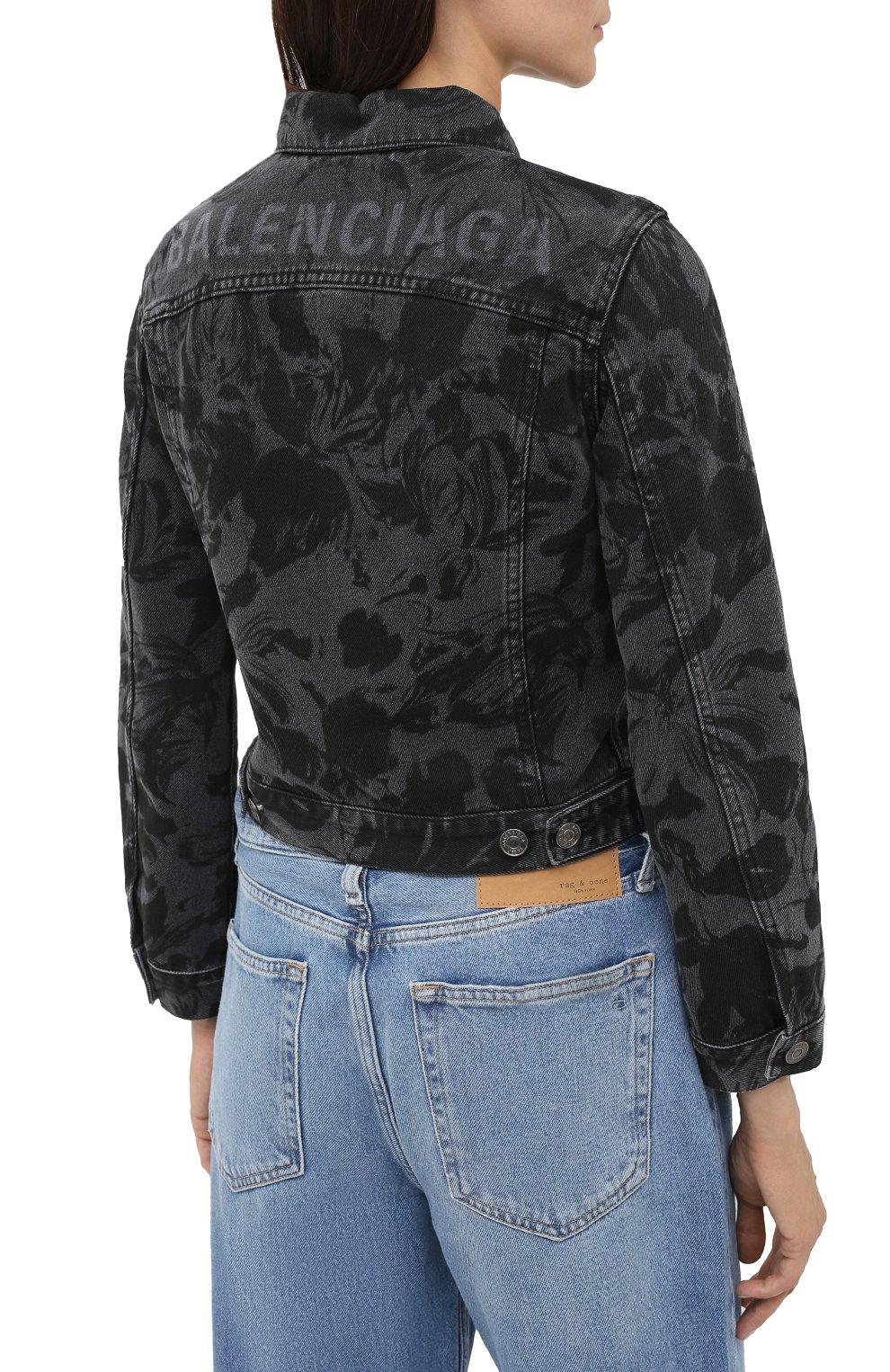 Женская джинсовая куртка BALENCIAGA черного цвета, арт. 625992/TEW35 | Фото 5