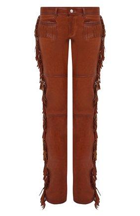 Женские кожаные брюки DSQUARED2 бежевого цвета, арт. S72KA1058/SY1517 | Фото 1