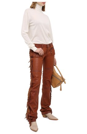 Женские кожаные брюки DSQUARED2 бежевого цвета, арт. S72KA1058/SY1517 | Фото 2