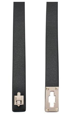 Женский кожаный ремень  VALENTINO черного цвета, арт. UW2T0U47/WMH   Фото 2 (Материал: Кожа)