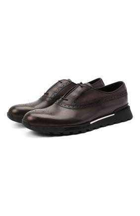 Мужские кожаные кроссовки BERLUTI темно-коричневого цвета, арт. S3873-021 | Фото 1