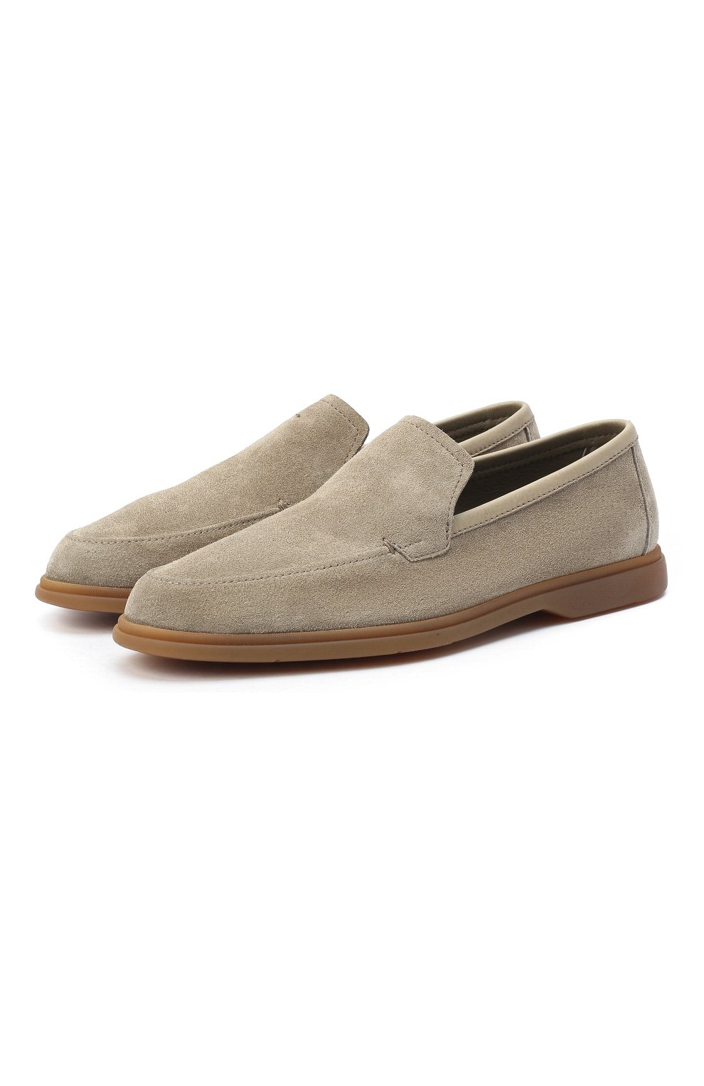 Мужские замшевые лоферы BERLUTI светло-серого цвета, арт. S5014-004 | Фото 1 (Мужское Кросс-КТ: Лоферы-обувь; Материал внутренний: Натуральная кожа; Стили: Кэжуэл)