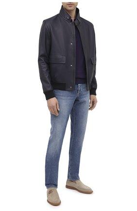 Мужские замшевые лоферы BERLUTI светло-серого цвета, арт. S5014-004 | Фото 2 (Мужское Кросс-КТ: Лоферы-обувь; Материал внутренний: Натуральная кожа; Стили: Кэжуэл)
