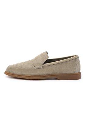 Мужские замшевые лоферы BERLUTI светло-серого цвета, арт. S5014-004 | Фото 3 (Мужское Кросс-КТ: Лоферы-обувь; Материал внутренний: Натуральная кожа; Стили: Кэжуэл)