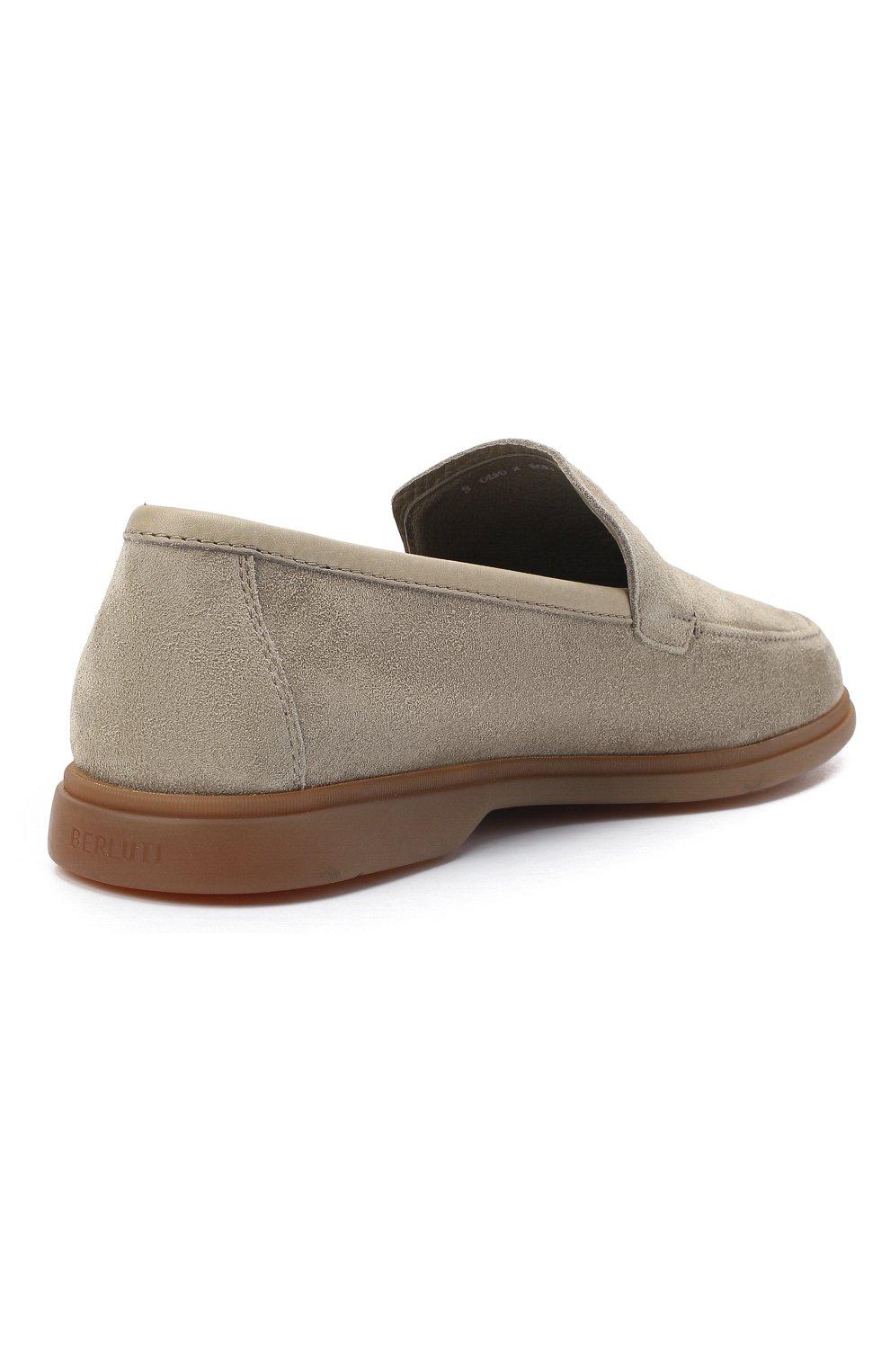 Мужские замшевые лоферы BERLUTI светло-серого цвета, арт. S5014-004 | Фото 4 (Мужское Кросс-КТ: Лоферы-обувь; Материал внутренний: Натуральная кожа; Стили: Кэжуэл)