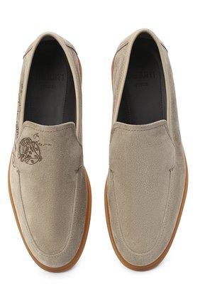 Мужские замшевые лоферы BERLUTI светло-серого цвета, арт. S5014-004 | Фото 5 (Мужское Кросс-КТ: Лоферы-обувь; Материал внутренний: Натуральная кожа; Стили: Кэжуэл)