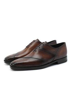 Мужские кожаные оксфорды BERLUTI темно-коричневого цвета, арт. S5210-001 | Фото 1