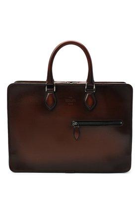 Мужская кожаная сумка для ноутбука BERLUTI светло-коричневого цвета, арт. M149262 | Фото 1