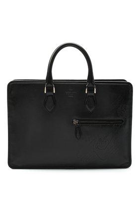 Мужская кожаная сумка для ноутбука BERLUTI темно-серого цвета, арт. M204771   Фото 1