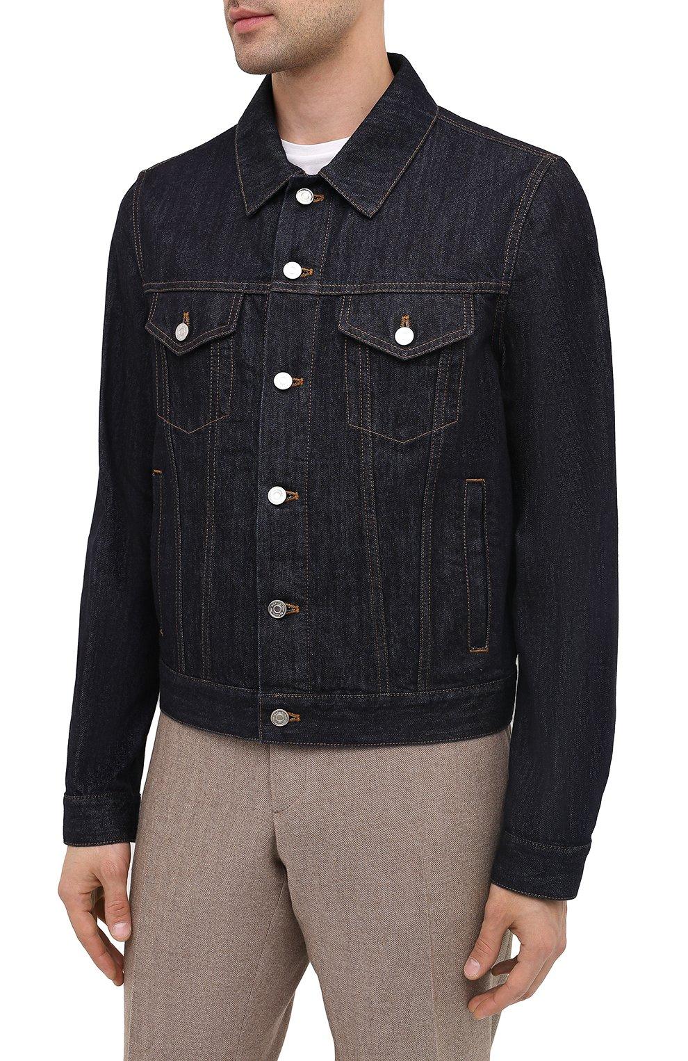 Мужская джинсовая куртка BERLUTI темно-синего цвета, арт. R180BL91-002   Фото 4