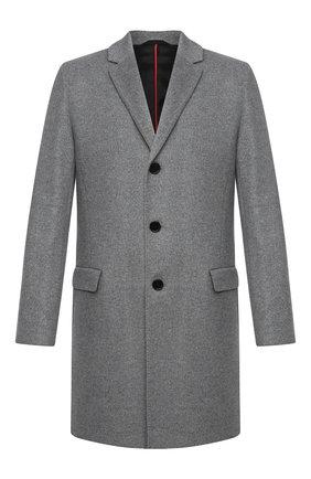 Мужской пальто из шерсти и кашемира HUGO серого цвета, арт. 50438454   Фото 1