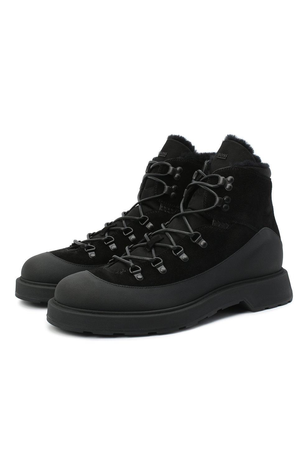 Мужские комбинированные ботинки BOSS черного цвета, арт. 50439828 | Фото 1