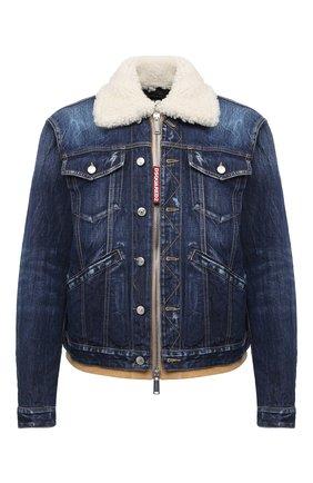 Мужская джинсовая куртка DSQUARED2 синего цвета, арт. S74AM1048/S30309 | Фото 1