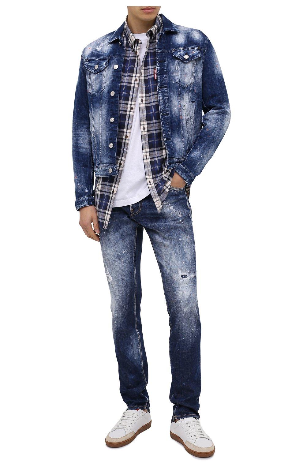 Мужская джинсовая куртка DSQUARED2 синего цвета, арт. S74AM1060/S30342 | Фото 2