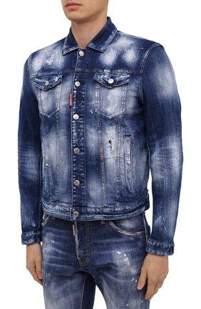 Мужская джинсовая куртка DSQUARED2 синего цвета, арт. S74AM1060/S30342 | Фото 3