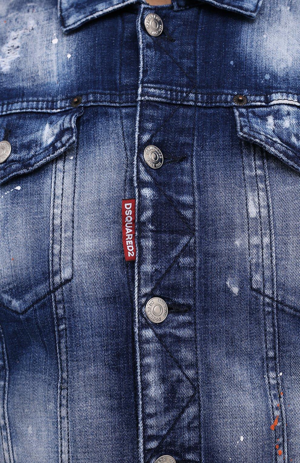 Мужская джинсовая куртка DSQUARED2 синего цвета, арт. S74AM1060/S30342 | Фото 5