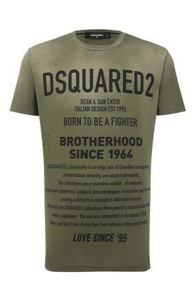 Мужская хлопковая футболка DSQUARED2 хаки цвета, арт. S71GD0960/S21600 | Фото 1