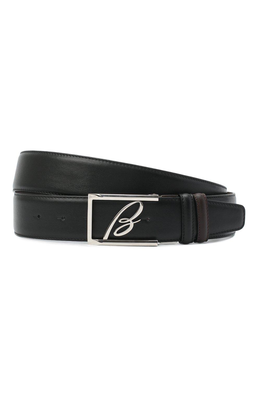 Мужской кожаный ремень BRIONI черного цвета, арт. 0BAS0L/P9721   Фото 1 (Случай: Формальный)