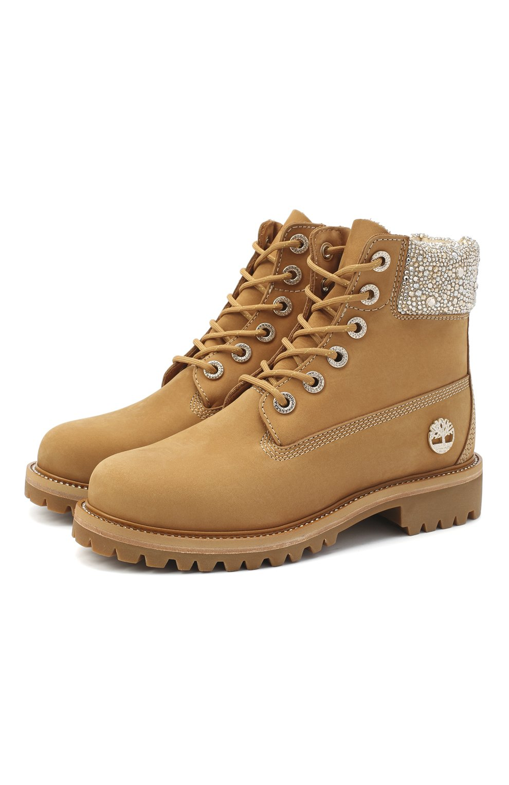 Женские кожаные ботинки jc x timberland JIMMY CHOO бежевого цвета, арт. JC X TIMBERLAND/F/TNCL | Фото 1