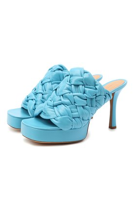 Женские кожаные мюли bv bold BOTTEGA VENETA голубого цвета, арт. 630175/VBT10 | Фото 1
