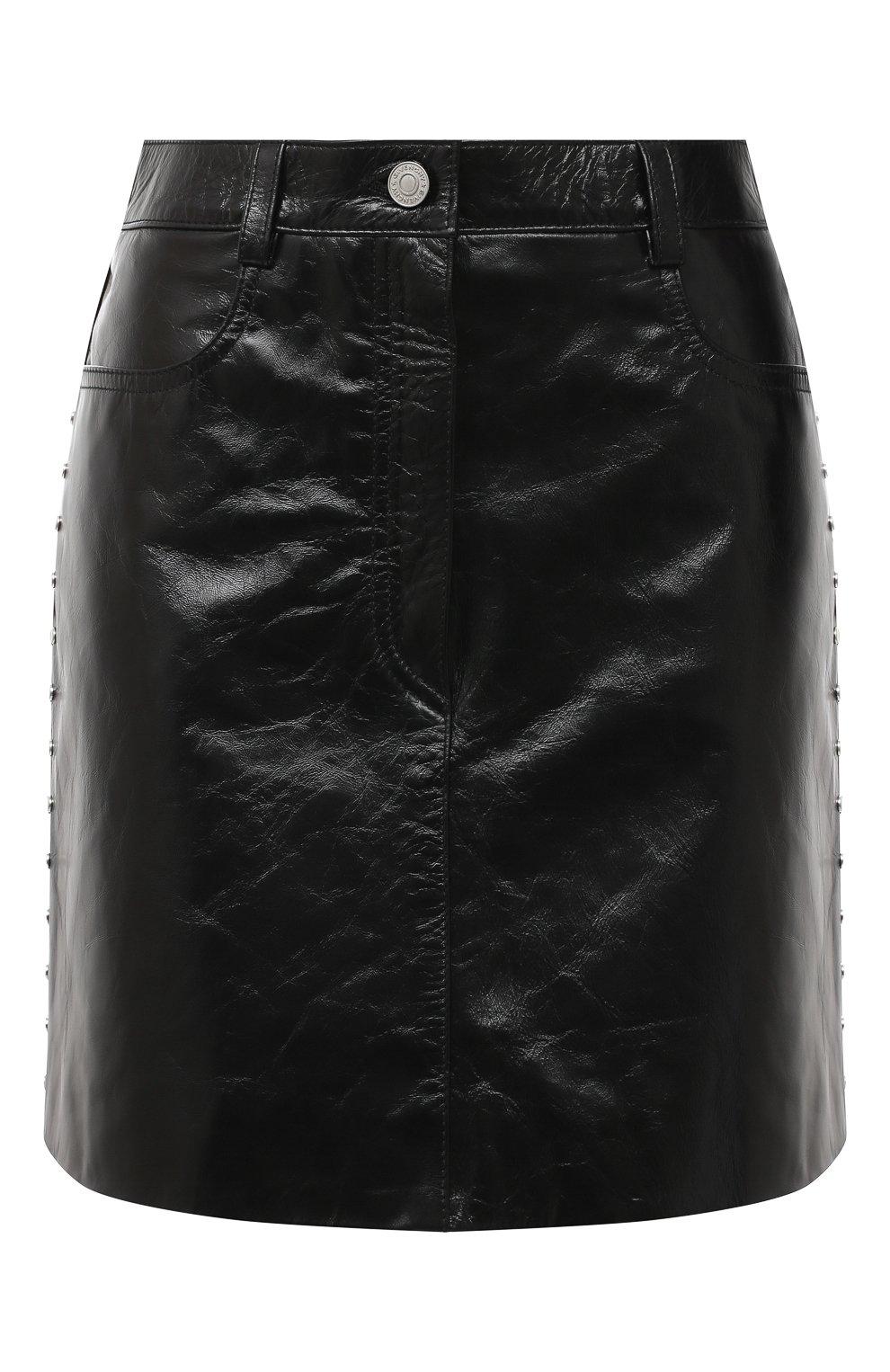 Женская кожаная юбка GIVENCHY черного цвета, арт. BW40EK60HU   Фото 1