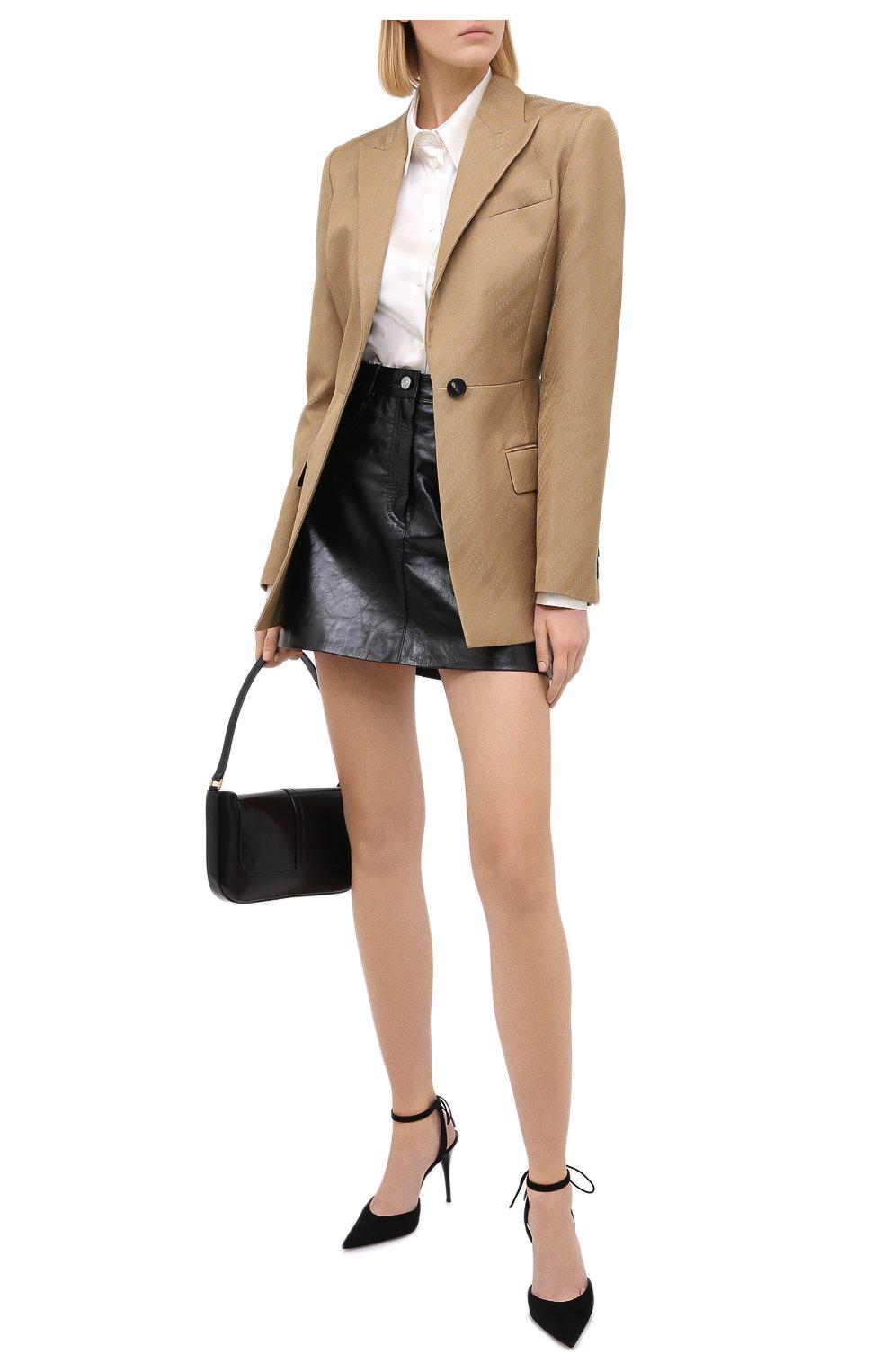 Женская кожаная юбка GIVENCHY черного цвета, арт. BW40EK60HU   Фото 2