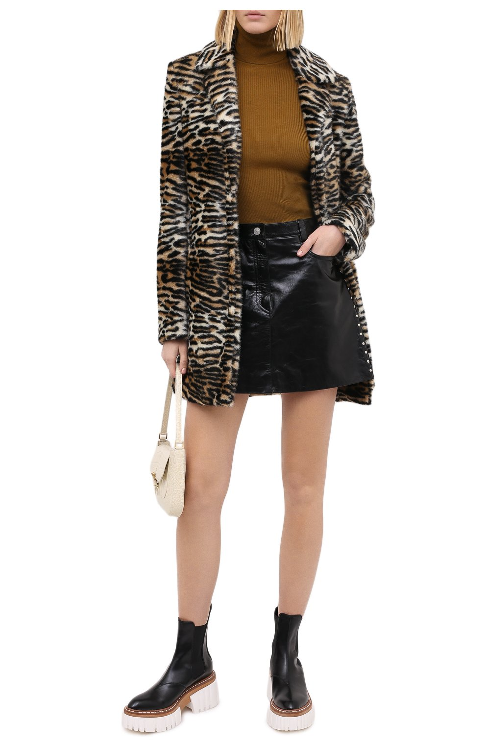 Женская кожаная юбка GIVENCHY черного цвета, арт. BW40EK60HU   Фото 3
