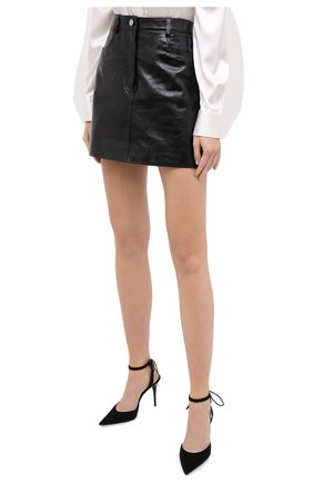 Женская кожаная юбка GIVENCHY черного цвета, арт. BW40EK60HU   Фото 4