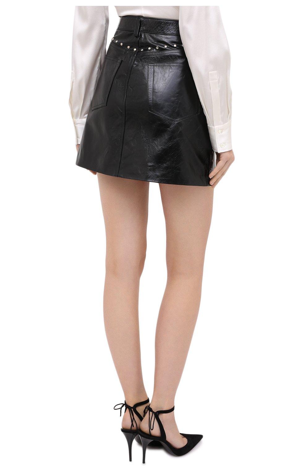 Женская кожаная юбка GIVENCHY черного цвета, арт. BW40EK60HU   Фото 5