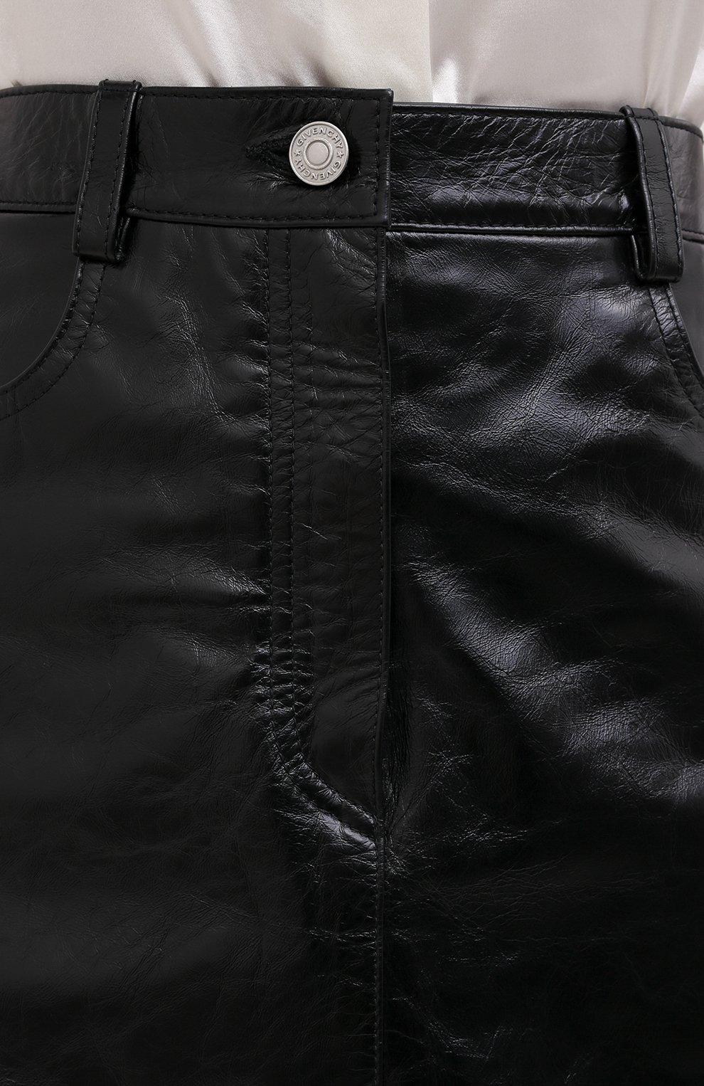 Женская кожаная юбка GIVENCHY черного цвета, арт. BW40EK60HU   Фото 6