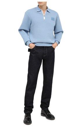 Мужское хлопковое поло ACNE STUDIOS голубого цвета, арт. CI0041/M | Фото 2