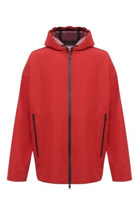 Мужская куртка BOTTEGA VENETA красного цвета, арт. 634083/VKU00 | Фото 1 (Рукава: Длинные; Материал внешний: Синтетический материал; Мужское Кросс-КТ: Куртка-верхняя одежда, Верхняя одежда; Стили: Минимализм; Кросс-КТ: Ветровка, Куртка; Длина (верхняя одежда): До середины бедра)