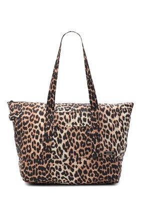 Женский сумка-шопер GANNI леопардового цвета, арт. A2723 | Фото 1