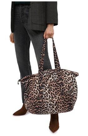 Женский сумка-шопер GANNI леопардового цвета, арт. A2723 | Фото 2