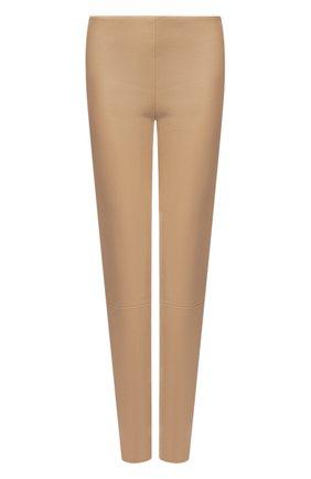 Женские кожаные леггинсы KITON бежевого цвета, арт. D50171X05S03   Фото 1
