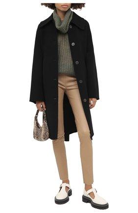 Женские кожаные леггинсы KITON бежевого цвета, арт. D50171X05S03 | Фото 2